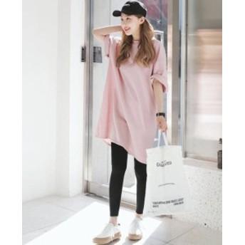 オルチャン 韓國 ファッション ワンピース Tシャツ ロングTシャツ ロンT 大きいサイズ ひざ丈 スリット オーバーサイズ ゆ