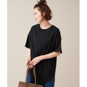 Discoat(ディスコート) レディース 裾アシメチュニック5分袖 ブラック