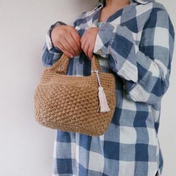 麻紐バッグ 丸底 S(パール風ビーズ付タッセル:模様編)麻バッグ 麻紐バッグ 麻ひもバッグ あさひもバッグ