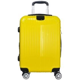 スーツケース キャリーケース キャリーバッグ 容量拡張 最大容量20%アップ ファスナー開閉 超軽量 8輪キャスター TSAロック付 き(Mサイズ,イエロー)