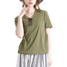 [ゴールドジャパン] 大きいサイズ レディース カットソー Tシャツ 接触冷感 日本製 sw-0203 3L カーキ