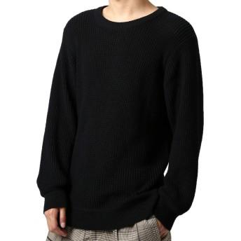 インプローブス ニット メンズ セーター あぜ編み クルーネックニット Uネック 長袖 あったか 暖かい ブラック L サイズ