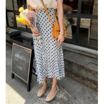 オルチャン 韓國 ファッション ドット柄 プリーツスカート ロングスカート ハイウエスト ウエストゴム ゆったり レトロ