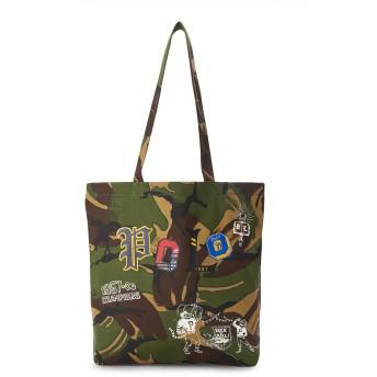 《期間限定 セール開催中》POLO RALPH LAUREN メンズ 肩掛けバッグ ミリタリーグリーン コットン 100% / 革 Camouflage Cotton Canvas Tote