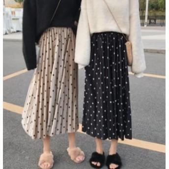 オルチャン 韓國 ファッション ドット柄 プリーツスカート ロングスカート ウエストゴム ハイウエスト レトロ ゆったり 大人可