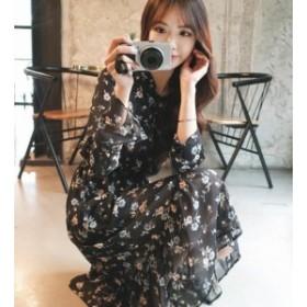 オルチャン 韓國 ファッション ワンピース 花柄 シフォン ミモレ丈 大きいサイズ ウエストゴム フレア リボン 透け感 ゆった