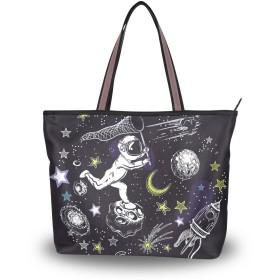 SoreSore(ソレソレ)トートバッグ 大容量 レディース メンズ 宇宙 宇宙員 星 星柄 黒 ブラック かわいい 可愛い バッグ ハンドバッグ ファスナー 大きめ 通学 旅行 帆布 プレゼント