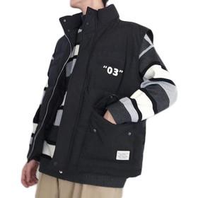 ZhongJue(ジュージェン)メンズ ベスト 中綿 ゆったり 綿入れベスト ノースリーブ ジャケット ダウン ファッション おしゃれ アウター 韓国ファッション(4黒)