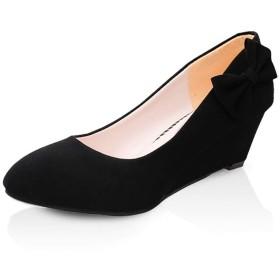 [AcMeer] パンプス カジュアル レディース ウェッジソール 歩きやすい靴 安定感 スエード 蝶結び 可愛い ヒール5CM 婦人靴 オフィス フォーマル 疲れにくい パーティー 美脚パンプス ブラック