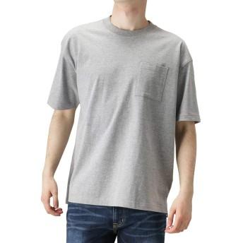 無地Tシャツ メンズ ポケット付きTシャツ 半袖Tシャツ クルーネック 丸首 無地 グレー:L
