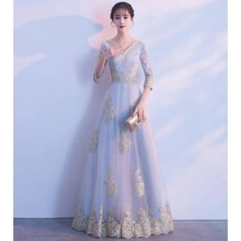 ロングドレス パーティードレス 透け感 レース お呼ばれ 結婚式 二次會 発表會 演奏會 韓國 オルチャン