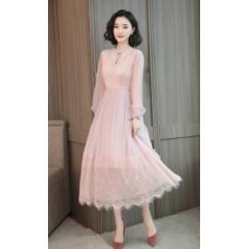 ドレス パーティドレス レディース ワンピース ワンピ レース ミモレ丈 長袖 袖あり 20代 ピンク ブラック Aライン 透け感 シースルー