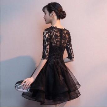 3色入 袖あり ウェディングドレス ワンピース 綺麗 可愛い パーティードレス 冠婚 プリンセスライン 大人 可愛い 花嫁 ワンピ 女性 素敵