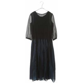(HIROKO BIS/ヒロコビス)シャーリングデザインストライプドレス/レディース ブルー