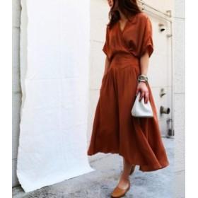 韓國 ファッション レディース ワンピース ロング Vネック フレア カシュクール ハイウエスト 半袖 シンプル 大人可愛い カ