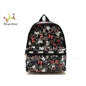 レスポートサック リュックサック 美品 黒×白×レッド DISNEY・ミニーマウス レスポナイロン 新着 20190831