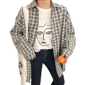 Gergeousチェックシャツ レディース ゆったり 長袖シャツ 薄手 春 秋 アウター 原宿系 通学 ファッション トップス(FREESIZE黒)