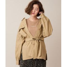 Discoat(ディスコート) レディース 【WEB限定】ベルト付シャツジャケット オリーブ