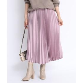 DOUDOU(ドゥドゥ) レディース プリーツサテンスカート ピンク