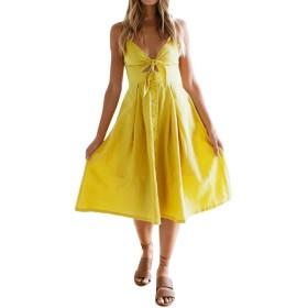 Feiscat ワンピース ビーチドレス レディース スリングドレス シーサイド ビーチ 夏 弾力 ノースリーブ ボタン アートスタイル イエロー ホワイト ちょう結び 簡単 快適 人気 おしゃれ ファッション (M, イエロー)