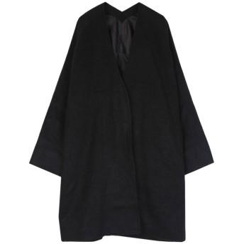 ユアーズ ur's シャギーノーカラーコート (ブラック)
