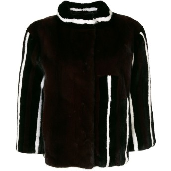 Liska コントラストライン ファージャケット - ブラック