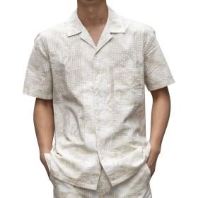 (アドミックス アトリエサブメン) ADMIX ATELIER SAB MEN 半袖 シャツ メンズ シアサッカー ボタニカル プリント オープンカラー 半袖 シャツ 02-04-8703 50(L) ベージュ