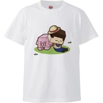 おやすみたこさん(5.6オンス ハイクオリティー Tシャツ)(カラー : ホワイト, サイズ : S)