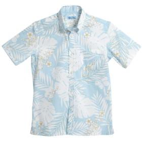 [MAJUN (マジュン)] 国産シャツ かりゆしウェア アロハシャツ 結婚式 メンズ 半袖シャツ ボタンダウン フロートリーフ ブルー 6L