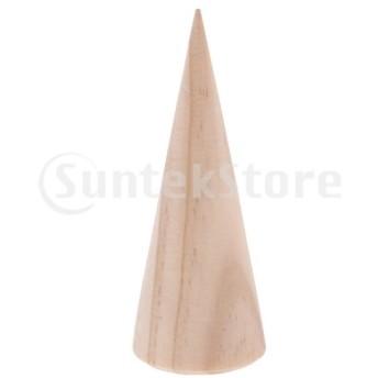 天然木 指輪 リング スタンド ラック ブレスレット ホルダー 円錐 インテリア 木製 収納 ジュエリー 5個セット