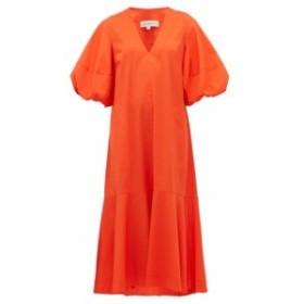 リーマシューズ Lee Mathews レディース ワンピース ワンピース・ドレス Ginger puff-sleeve cotton-blend midi dress Orange