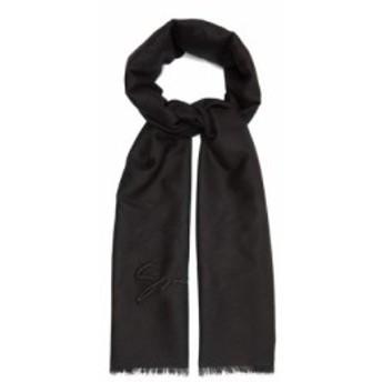 ジバンシー Givenchy メンズ マフラー・スカーフ・ストール Embroidered logo cashmere-blend scarf Black