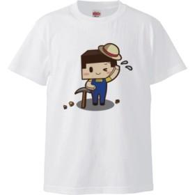 ツルハシたこさん(5.6オンス ハイクオリティー Tシャツ)(カラー : ホワイト, サイズ : S)