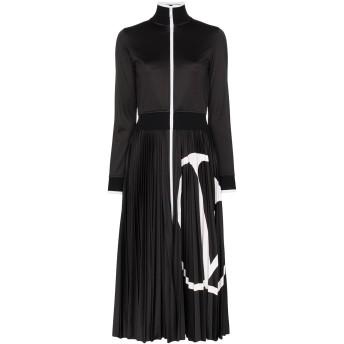 Valentino Vロゴ プリーツ ミディドレス - ブラック
