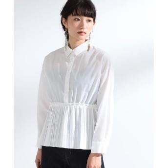 ビームス ウィメン Ray BEAMS / プリーツ キリカエ レギュラーシャツ レディース WHITE 1 【BEAMS WOMEN】