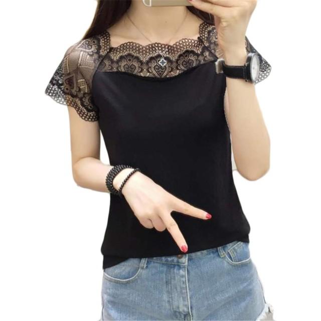 (ジャンーウェ)レース Tシャツ 半袖 ボードネック 女性用 カットソー 薄手 トップス 夏物 カジュアル おしゃれ ブラックM