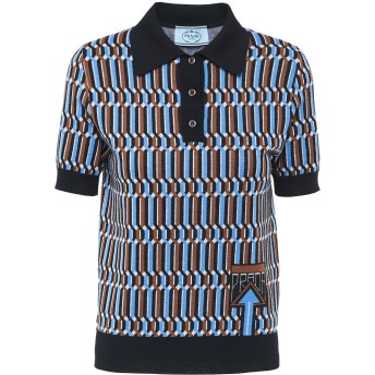 Prada パターン ニットポロシャツ - ブルー