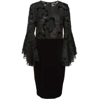 Badgley Mischka ラッフルスリーブ ドレス - ブラック