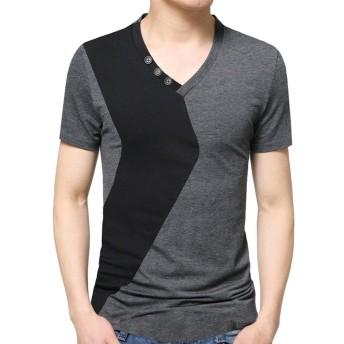 メンズ ミックスカラー Tシャツ Meilaifushi ファッション パッチワーク ヘンリーネック 夏服 ミックスカラー ファッション ワイルド 半袖 春夏秋着 おしゃれ 修身 スプライス インナーシャツ シンプル 男性 カジュアル 上着 普段着 お出かけ トップス