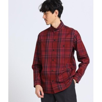 【10%OFF】 タケオキクチ ビッグタータン チェック スタンドカラーシャツ メンズ ボルドー(264) 04(LL) 【TAKEO KIKUCHI】 【タイムセール開催中】
