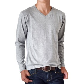 (アローナ) ARONA 長袖Tシャツ メンズ クルーネック Vネック シンプル 無地 /M1.5/ B 杢グレー L