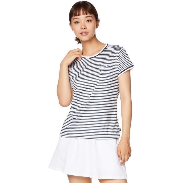[プリンス] テニスウェア ゲームシャツ [レディース] WL9076 ホワイト×ネイビー (217) 日本 LL (日本サイズ2L相当)