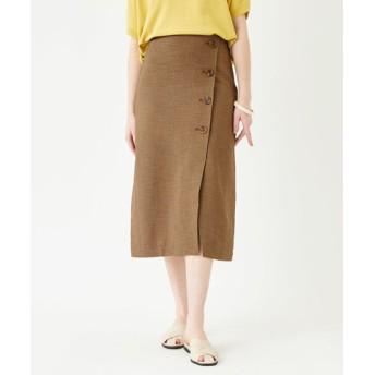 リネンライクフェイクラップ台形スカート