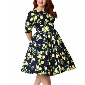 女性のヴィンテージカクテルイブニングドレス1950年代の花のパーティードレス,ブルー,7XL