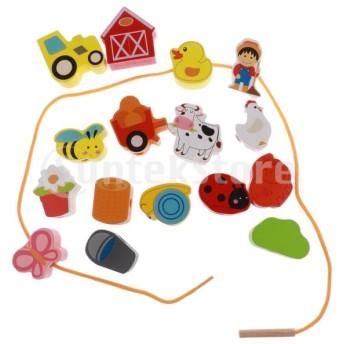 紐通しおもちゃ 紐通し ビーズ 漫画柄 木製 遊び 知育玩具 幼稚園 贈り物 2個入