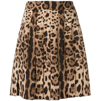 Dolce & Gabbana レオパード プリーツスカート - ブラウン