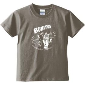 BONITOS TV モノクロ(白) キッズTシャツ(カラー : ライトグレー, サイズ : 110)