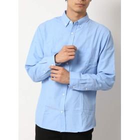 (アーケード) ARCADE メンズ シャツ 選べる釦 オックスフォード ボタンダウンシャツ 細身 タイト 長袖 白シャツ カジュアルシャツ XL サックス(ノーマル釦)