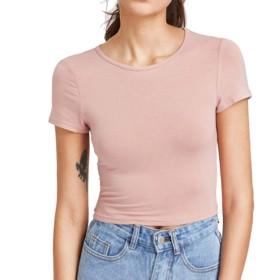 Tシャツ 女性 レディース 無地 ショート丈半袖 Duglo セクシー 運動 夏 きれいめ 快適 ブラウス 丸首 トップス 春 おしゃれ 日常 カジュアル 透け 可愛い 上着 シンプル (XL, ピンク)