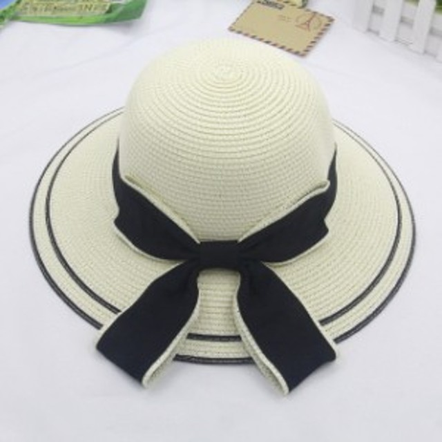 UVカット レディース ビーチハット キャべリン ストローハット 麦わら帽子 つば広帽子 韓国風 日除け帽 紫外線防止 日焼け防止